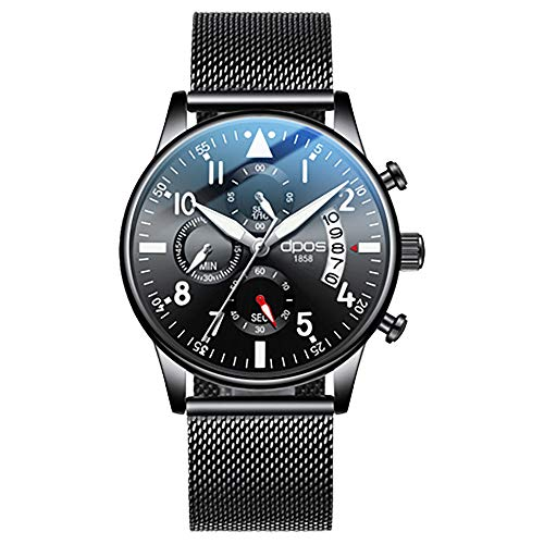 DPOS Men's Watch Ultra Thin Waterproof Wristwatch Date Calendar Dial Mesh Strap