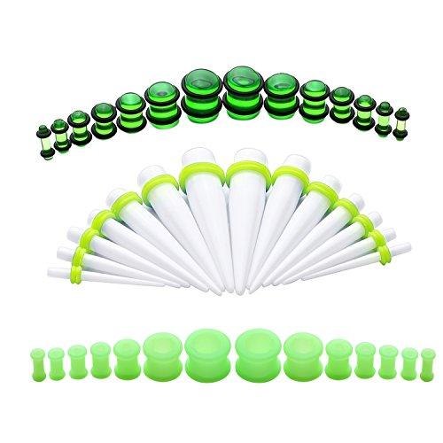 BodyJ4You 42PC Gauges Kit Ear Stretching 8G-12mm Tapers Plugs Green Silicone White Acrylic Set