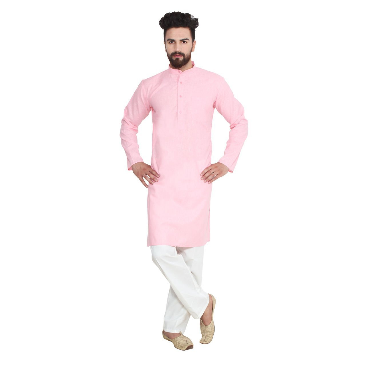 Royal Men's Solid Kurta Pyjama Linen Blend light-pink-swift-38-$P