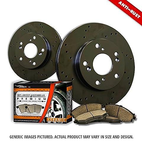 (Front Kit)2 Black Zinc Plated Drilled Disc Brake Rotors + 4 Ceramic Pads(6lug)-Combo Brake Kit