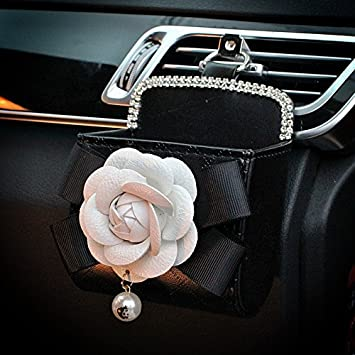 Follicomfy Car Steering Wheel Cover with Fashion Cute Flower Diamond Pearl,Perfect for Girls Women Ladies,Universal Size-Montage White Flower