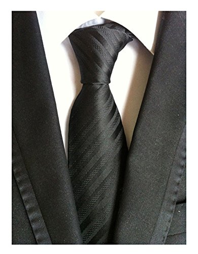 Secdtie Men's Stripe Solid Black Jacquard Woven Silk Tie Formal Necktie TW012 (Solid Silk Necktie Black)
