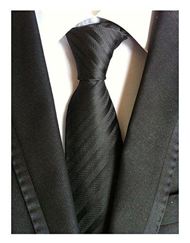 Secdtie Men's Stripe Solid Black Jacquard Woven Silk Tie Formal Necktie TW012