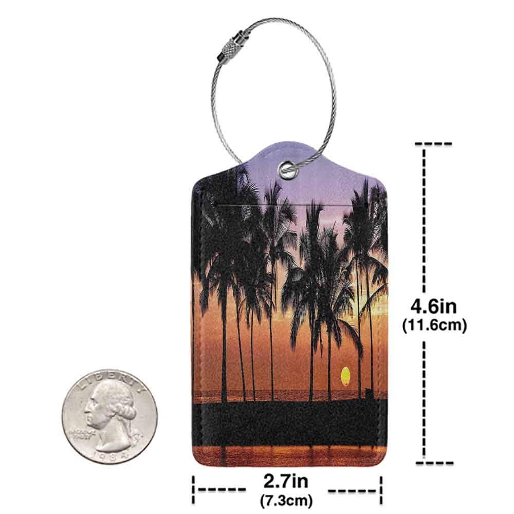 Personalized luggage tag Hawaiian Decorations Hawaiian Sunset On Big Island Anaehoomalu Bay Tropic Horizon Ocean Romantic Resort Easy to carry W2.7 x L4.6