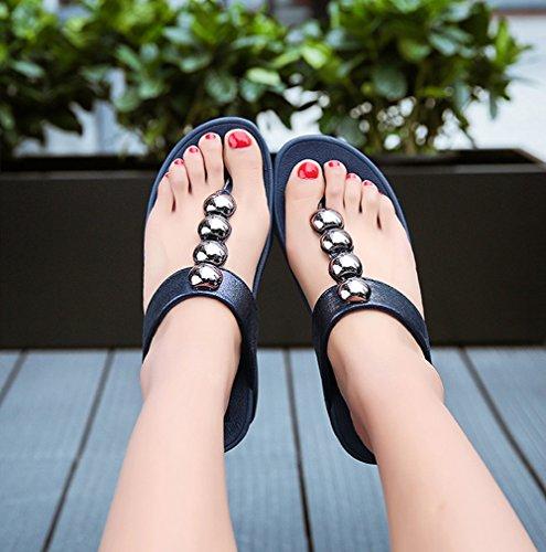 Pellizcar Brillantes Fondo Blue Cuentas Zapatillas Grueso Playa Verano De Nvxie Sandalias Temporada Pendiente Mujeres qznA64