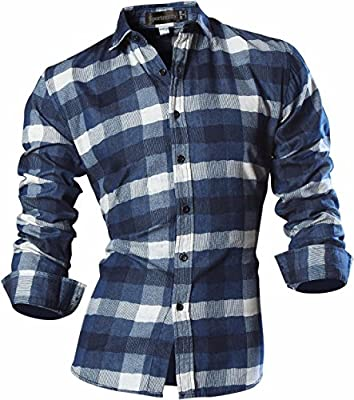 Sportrendy Men's Slim Plaid Button Down Long Sleeves Dress Shirt Tops MAJ001