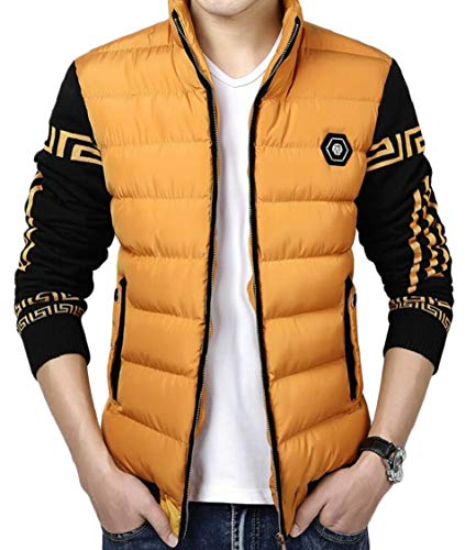 Down Jacket Stand Casual Men's Quilted Gocgt Zipper Collar Padded Yellow x06wT17