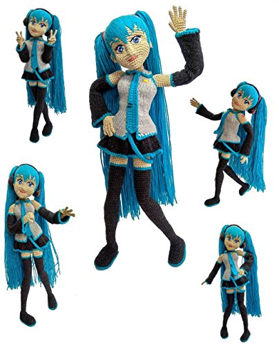 "Hatsune Miku doll, Handmade vocaloid anime character Amigurumi, crochet Miku Hatsune, plush vocaloid, handmade Miku Hatsune doll, Miku doll, crocheted character, 12"""