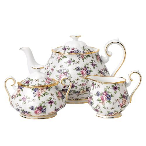 100 YEARS 1940 3-PIECE SET (TEAPOT, SUGAR & CREAMER) ENGLISH (Antique English Bone China)
