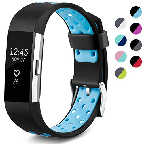 Maledan Replacement Sport Bands with Air Holes Compatible for Fitbit Charge 2, Black/Blue, Small