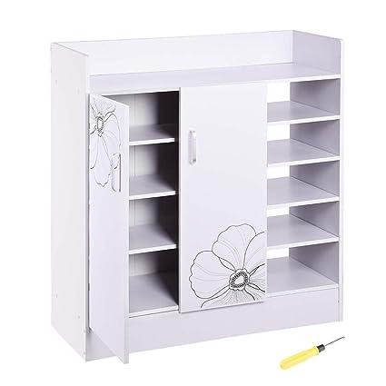 Yescom 31.5u0026quot;x12u0026quot;x35u0026quot; Shoes Cabinet 2 Door 18 Pairs Storage  Organizer