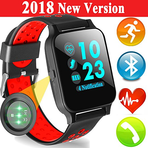 Fitness Tracker Smart Watch with Heart Rate Blood Pressure Monitor Music Player for Men Women Kid GPS Activity Tracke Sport Smartwatch Calories Pedometer Sync Phone Calls SMS Android iOS