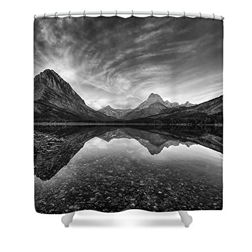 Pixels Shower Curtain (74'' x 71'') ''Many Glacier Zen In Black And White'' by Pixels