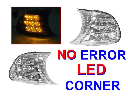 A Pair of Depo Clear Lense Chrome Housing Corner Signal Light with Amber LED - BMW 3-Series E46 M3 2DR (Screw-On Type Corner) 2002-2006