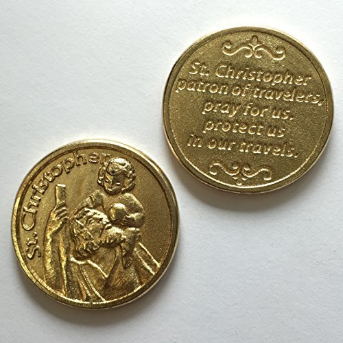 Christopher Italian Charm (Saint Christopher Pocket Token Coin Travel Traveler Protection Protect Catholic Charm Medal Religious Gift Prayer Pray 1)