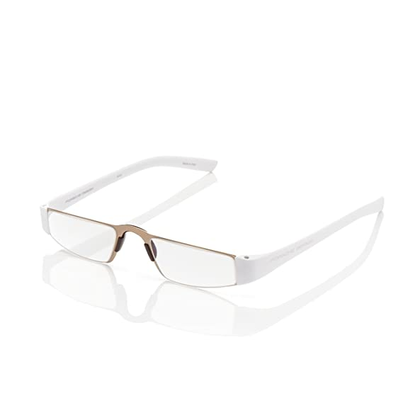 5f5c9ae7b883 Porsche Design Reading Tool - P 8801 with +1.50 Lens Strength - Matt White  Frame Gold Front Rim with lightweight Anti-Reflection coated lenses  ...
