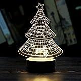 Pinron 3D Illusion Lamp Christmas Tree/Santa Claus/Elk/Snowman Acrylic 3D Light Creative Visual Tabletop Atmosphere LED Night Lights Energy-saving USB Light for Room Office Environment Decor