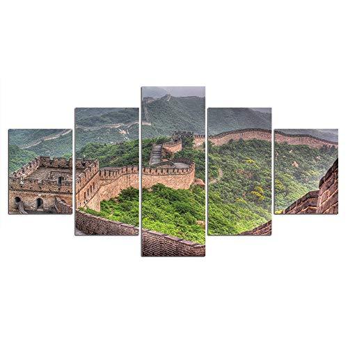DGGDVP Cuadros enmarcados Cuadro de Arte de Pared Cuadros de Lienzo 5 Piezas La Gran Pared Pintura Poster Decoracion del hogar para Sala de Estar Tamano 1 con Marco