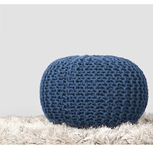 RAJRANG BRINGING RAJASTHAN TO YOU Blue Pure Stuffed Pouf Hand Knitted Braided Cotton Cord Round Ottoman Small Space Bedroom Decorative Seating, 19x13, ()