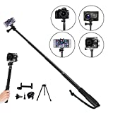 Telescoping Selfie Stick 10 in 1 with Tripod Stand Pole Extendable Handheld Cameras Selfie Stick for GoPro screw thread Session Cameras 5 4 3+ 3 2 1 Session - 14-43 Inch Cell Phones Aooking Tech