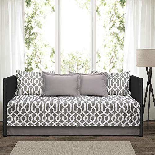 """Lush Decor Edward Trellis Patterned 6 Piece Daybed Cover Set Includes Bed Skirt, Pillow Shams and Cases, 75"""" X 39"""", Gray and White"""