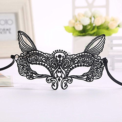 Auwer Exquisite High-end Lace Hollow Out Masquerade Mask Catwoman Halloween Pretty Party Evening Prom Ball Mask (C)]()
