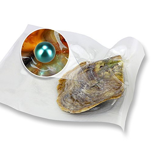 NY Jewelry 10PCS Dark Green Akoya Round Cultured Pearl in Oyster Vacuum Package 6-7mm ()
