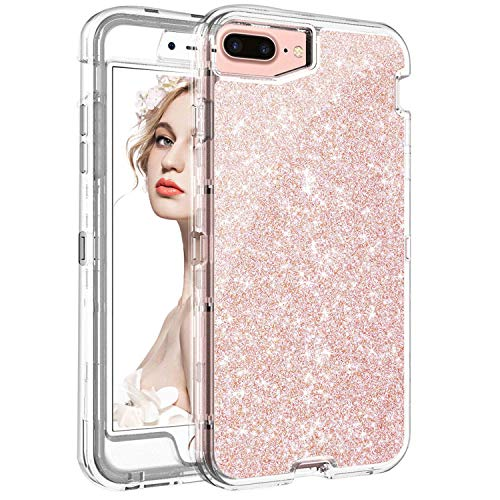 iPhone 8 Plus Case Clear with Glitter, iPhone 8 Plus Case for Women,iPhone 7 Plus Case Shockproof Drop Protection iPhone 6 Plus Case Hybrid Rose Gold iPhone 6S Plus Case for iPhone 6 6S 7 8 Plus 5.5""