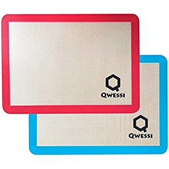 "Qwessi Silicone Baking Mat Pastry Silpat Mat Non-Stick Cookie Bakery Sheet / Liner ( 16.5"" x 11"" Inches ) - 2 Pack"