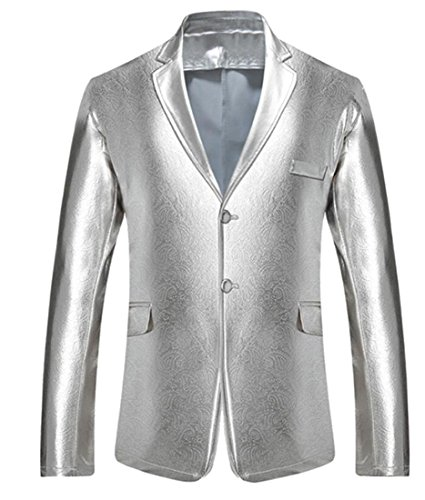 Papijam Mens Vintage Two Button Blazer Suit Jacket Outwear Silver (Two Button Vintage Coat)