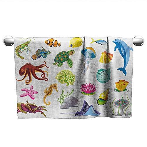 (xixiBO Bath Towel W28 x L12 Marine,Sea Animals Octopus Dolphin Shells Stingray Crab Turtle Jellyfish Wildlife Graphic,Multicolor Microfiber Bath Towel)