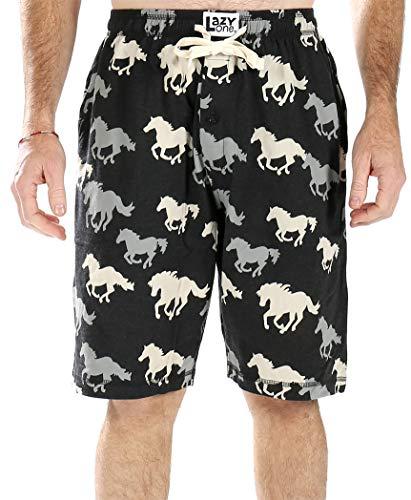 Lazy One Men's Cotton Pajama Sleep Shorts (Stampede Horse, ()