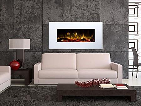 Wandkamin elektrisch Flammen mit Holzdekoration wei/ß 1500 Watt Heizl/üfter, Farbige LED-Beleuchtung; Glasscheibe, Dimmer, Fernbedienung Elektrokamin GLOW FIRE Neptun
