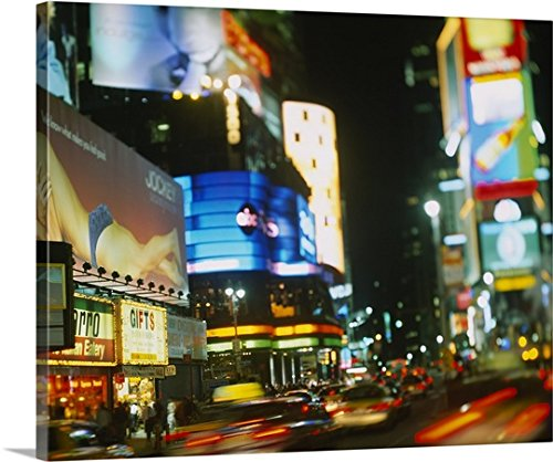 Canvas On Demand Premium Thick-Wrap Canvas Wall Art Print entitled Buildings lit up at night in a city, Times Square, Manhattan, New York City, New York State - New Stores York In City Square Times