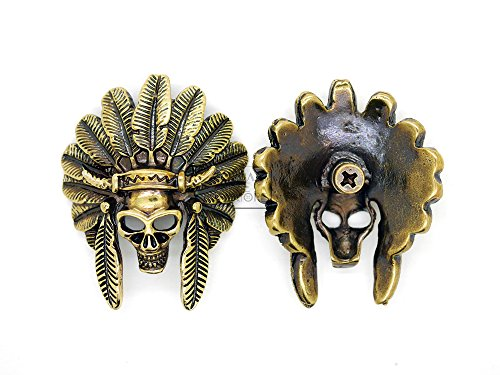 CRAFTMEmore Bronze and Silver Skull Concho Screw Back Indian Head Tribal Cheif Conchos Leathercraft Decor 2PCS 1-3/4 Inches CHS21 (Bronze)