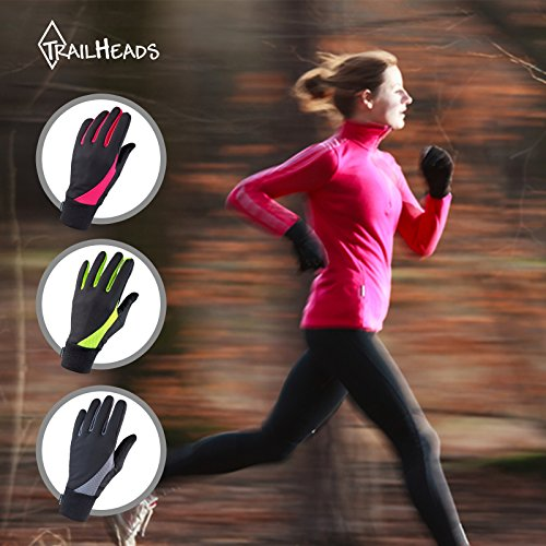 TrailHeads Running Gloves for Women   Lightweight Gloves with Touchscreen Fingers -Black/Bright Coral (Small) by TrailHeads (Image #5)
