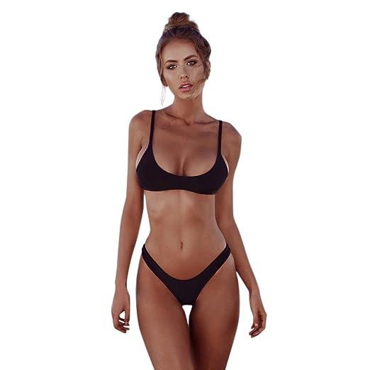 ae944882d49b2 Amazon.com  Leyorie Women Brazilian Cheeky Bikini Bottom Thong Swimsuit Sexy  Triangle Padded Push up Two Piece Swimwear  Clothing