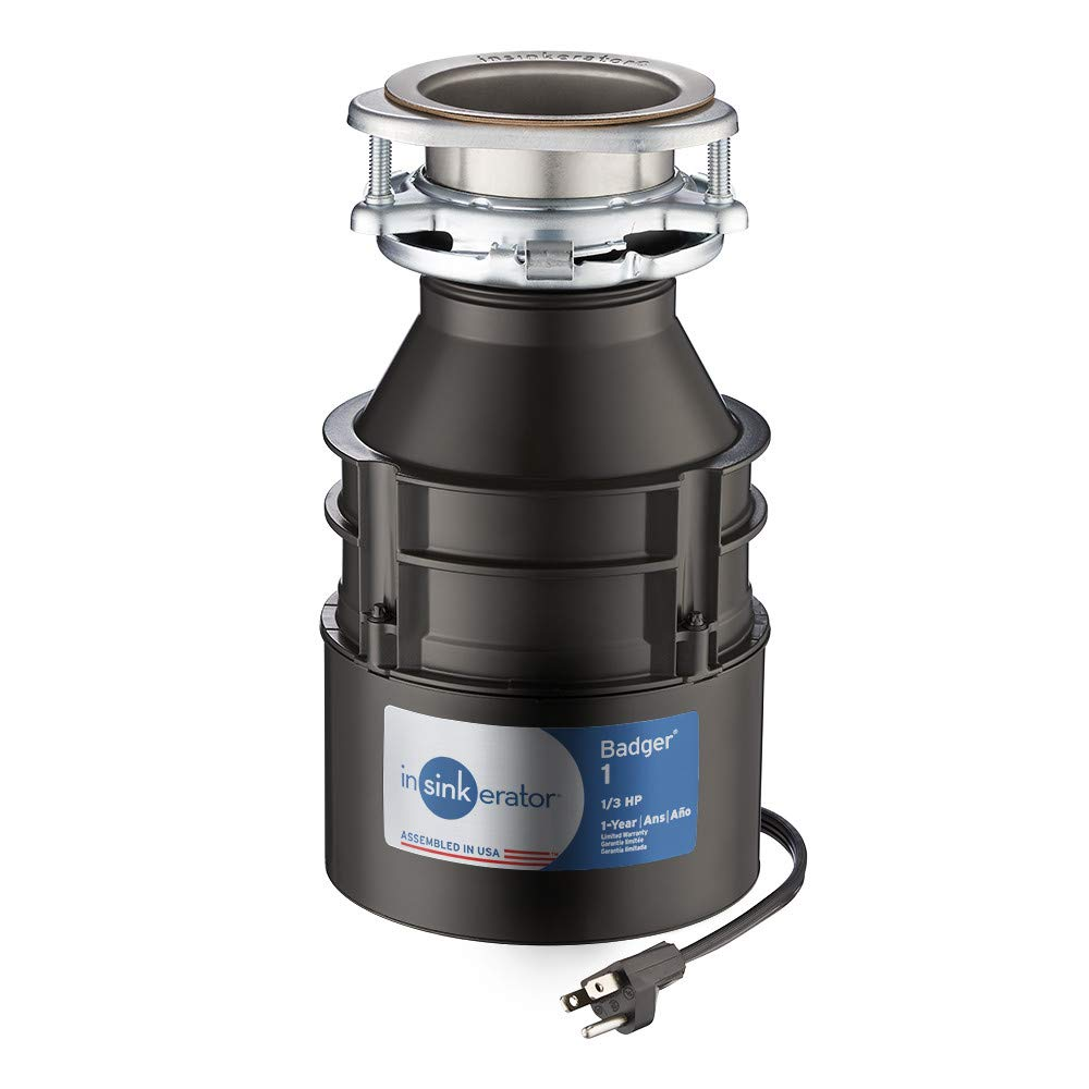 InSinkErator Garbage Disposal with Cord, Badger 1, 1/3 HP Continuous Feed - -
