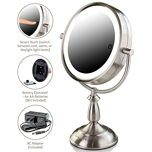 Ovente 7.5'' Lighted Tabletop Mirror, SmartTouch Cool, Warm, Daylight LED Tones (1X5X, Brushed) by Ovente