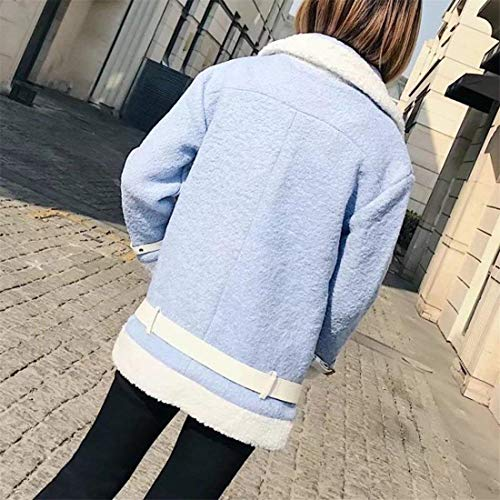 Di Chiusura A Comodo Especial In Giacca Invernali Lana Manica Blau Moda Con Tasche Eleganti Lunga Cerniera Pile Agnello Donna Giacche Pelle Cappotto Bavero Autunno Estilo Casual Lupetto LGqUpSMVz