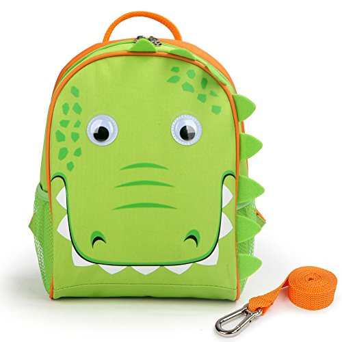 Yodo Upgraded Kids Insulated Toddler Backpack with Safety Harness Leash and Name Label - Playful Preschool Kids Lunch Bag, Crocodile (Perfect Crocodile Bag)