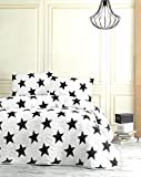 DecoMood Stars Bedding, Full/Queen Size Bedspread/Coverlet Set, Black and White Girls Boys Bedding, 3 PCS,