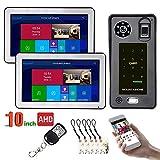 JINPENGPEN 10 inch WiFi Intelligent Video intercom Access Control System Fingerprint IC Card Video Door HD 1000TVL