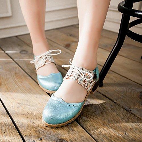 Dameslaarzen Mode Bloemenpatroon Casual Glimmende Comfort Lace-up Lage Hak Sandalen Blauw