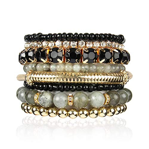 olor Stretch Beaded Stackable Bracelets - Layering Bead Strand Statement Bangles ([S-M] Natural Stone - Labradorite) ()