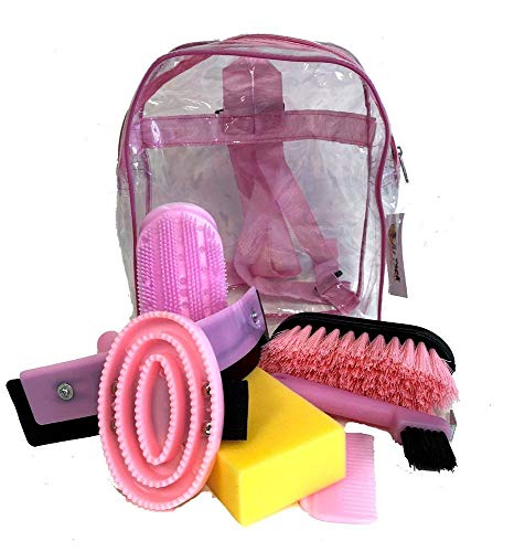 AJ Tack Wholesale Horse Grooming Kit 8 Piece Set for Children Brushes Sweat Scraper Rubber Massage Curry Mane and Tail Comb Hoof Pick Sponge Clear Back Pack Pink