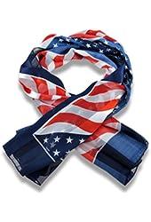 Patriotic Satin American Flag Fashion Scarf 42 X 42 In.