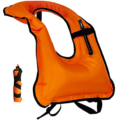 Snorkel Vest Inflatable Adult life vests Free Diving Swimming Safety Load Up To 220 Ibs (Adult Snorkel Vest)