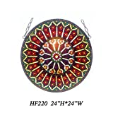 HF-220 Tiffany Style Stained Church Art Glass Pastoral Kaleidoscope Style Round Window Hanging Glass Panel Suncatcher, 24''H24''W
