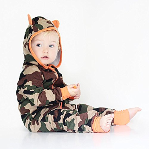 Newborn Baby Boy Girls Camouflage Hoodies Romper Zipper Long Printed Bodysuit Kids Casual Playsuit (Camo, 0-6Months)